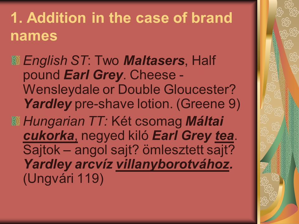 1. Addition in the case of brand names