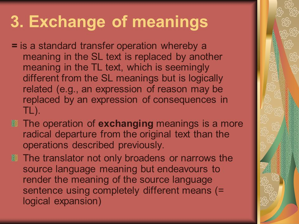 3. Exchange of meanings