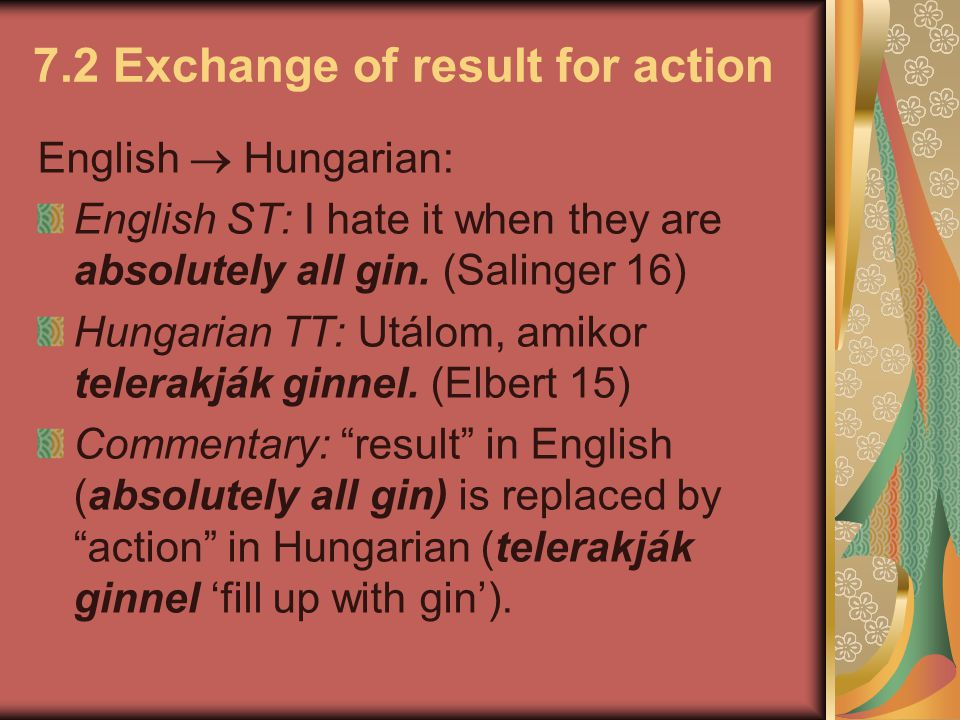7.2 Exchange of result for action
