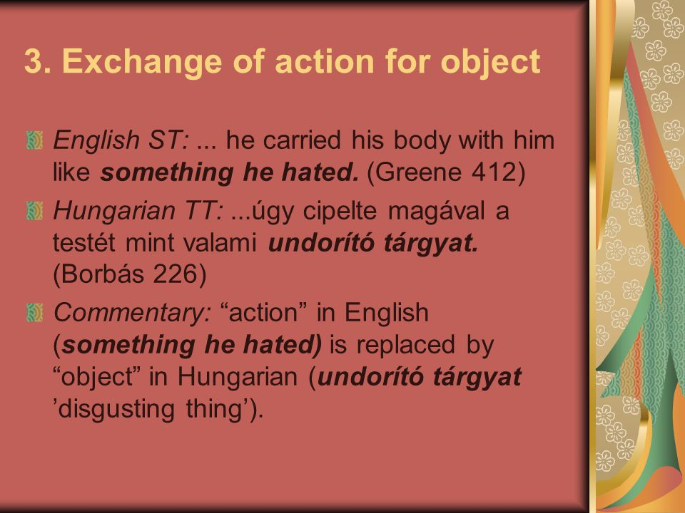 3. Exchange of action for object