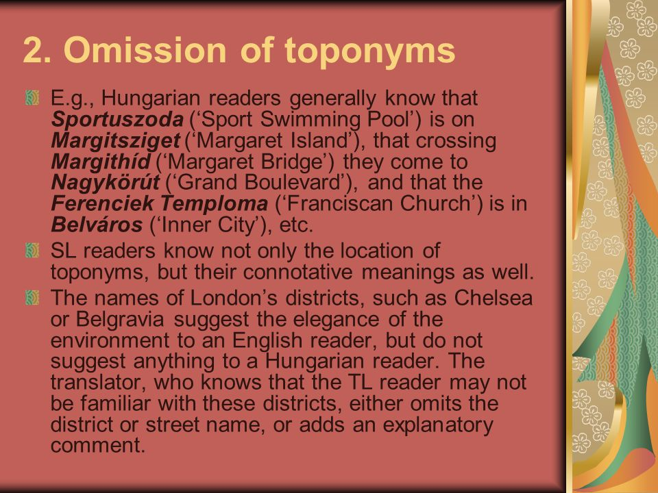 2. Omission of toponyms