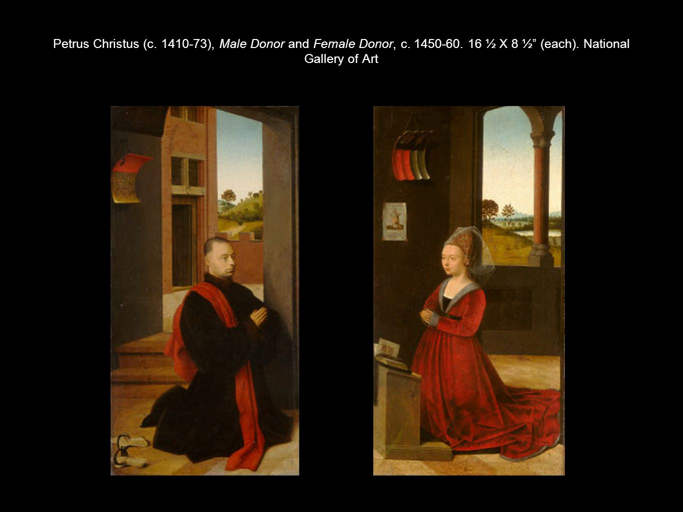 Petrus Christus (c. 1410-73), Male Donor and Female Donor, c. 1450-60
