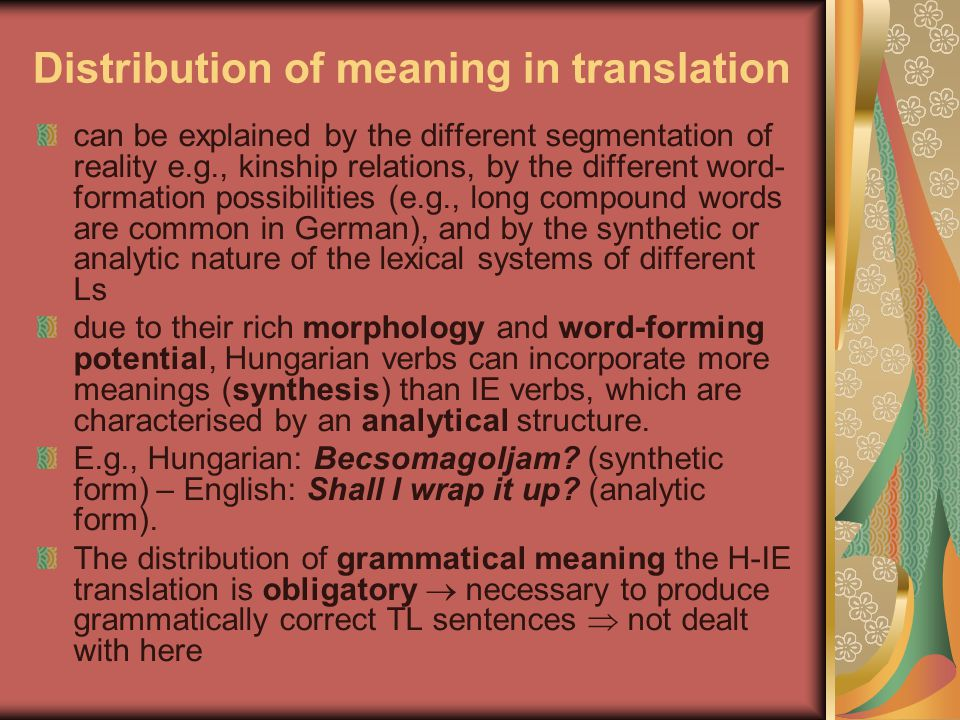 Distribution of meaning in translation