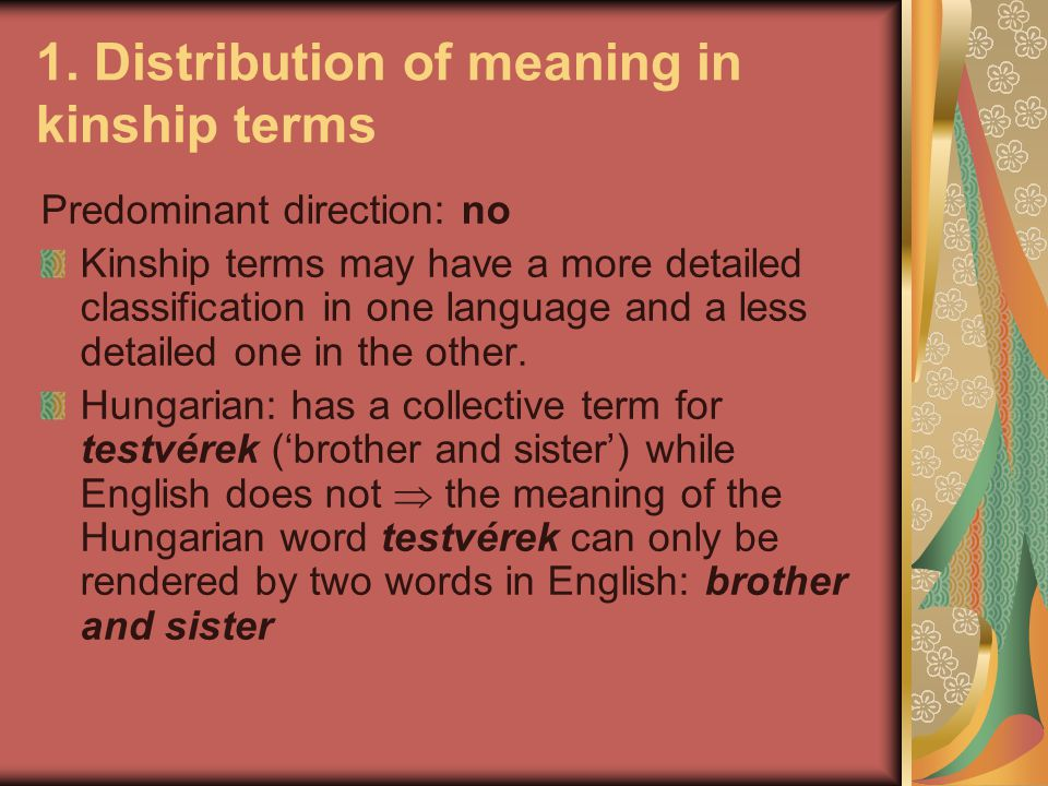 1. Distribution of meaning in kinship terms