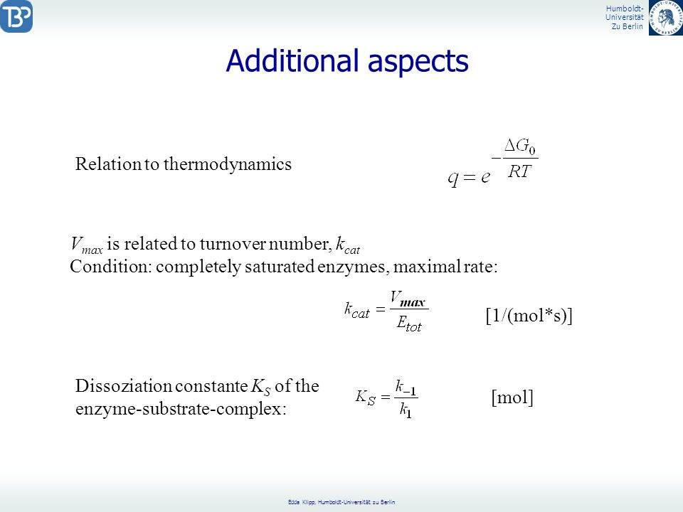 Additional aspects Relation to thermodynamics