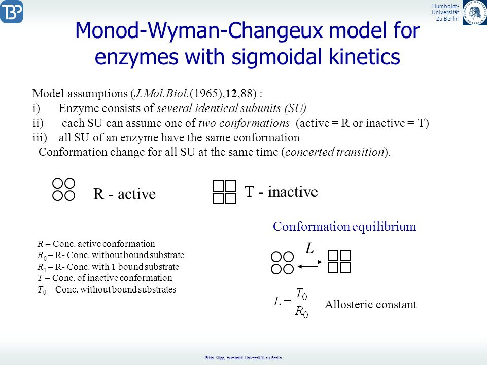Monod-Wyman-Changeux model for enzymes with sigmoidal kinetics
