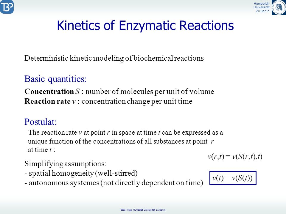 Kinetics of Enzymatic Reactions