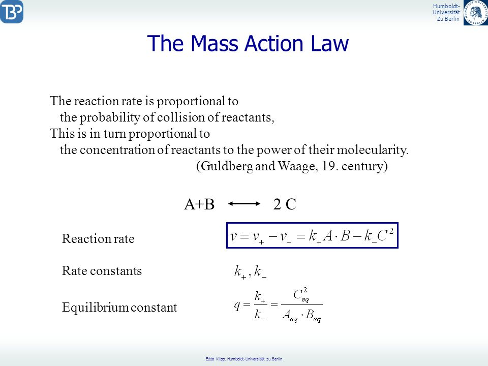 The Mass Action Law A+B 2 C The reaction rate is proportional to