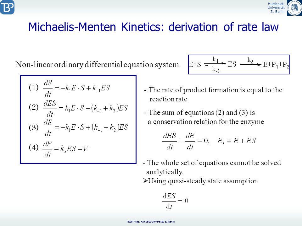 Michaelis-Menten Kinetics: derivation of rate law