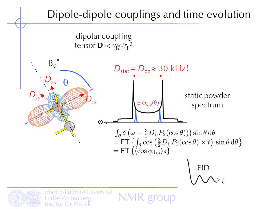 Dipole-dipole couplings and time evolution
