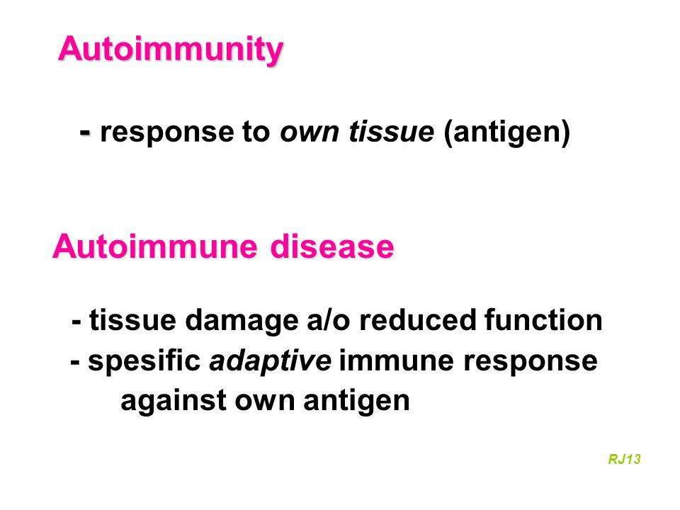 Autoimmunity - - response to own tissue (antigen)