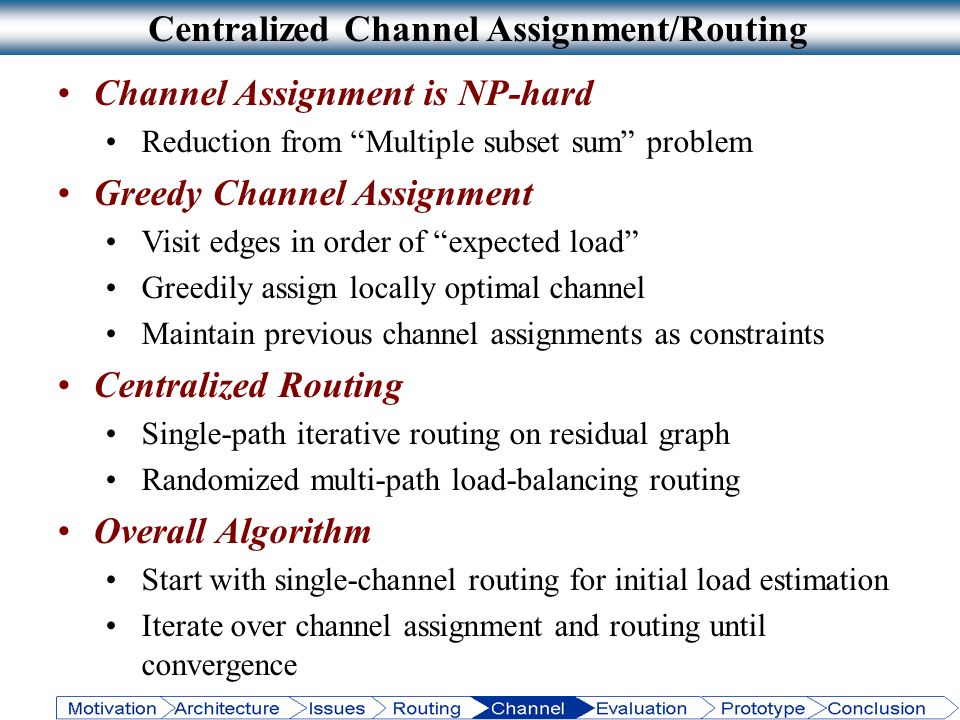 Centralized Channel Assignment/Routing