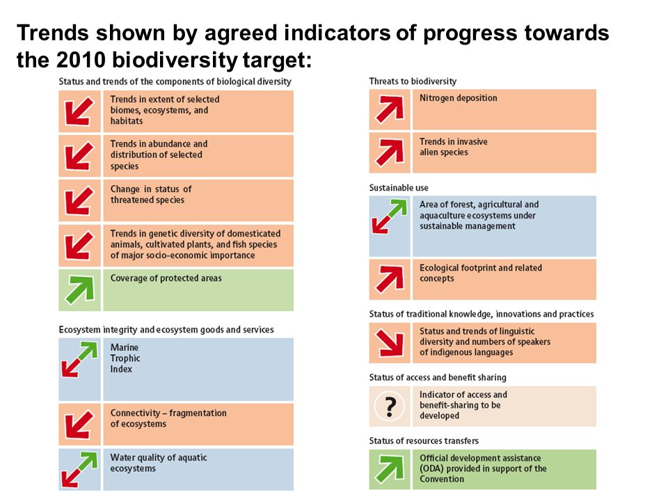 Trends shown by agreed indicators of progress towards the 2010 biodiversity target: