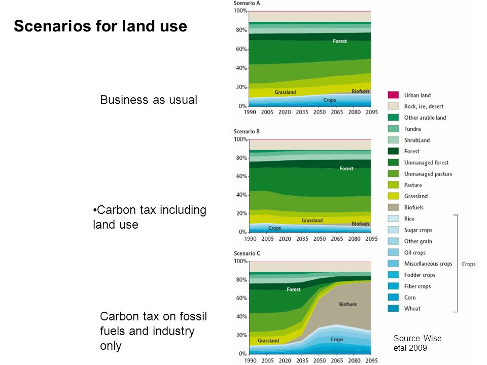 Scenarios for land use Business as usual Carbon tax including land use