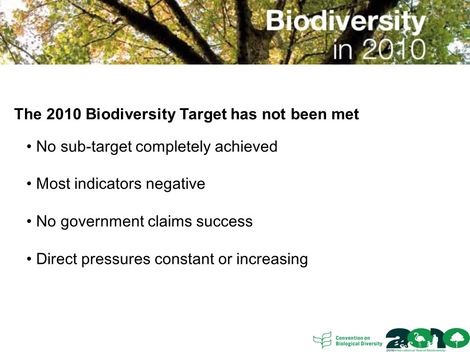 The 2010 Biodiversity Target has not been met