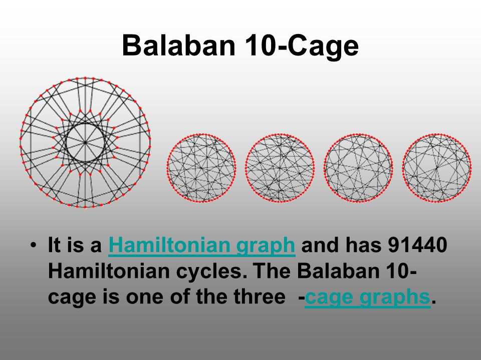 Balaban 10-Cage It is a Hamiltonian graph and has 91440 Hamiltonian cycles.