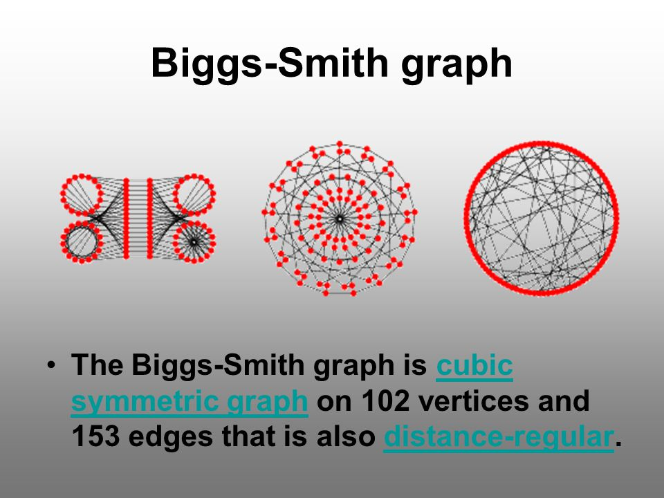 Biggs-Smith graph The Biggs-Smith graph is cubic symmetric graph on 102 vertices and 153 edges that is also distance-regular.
