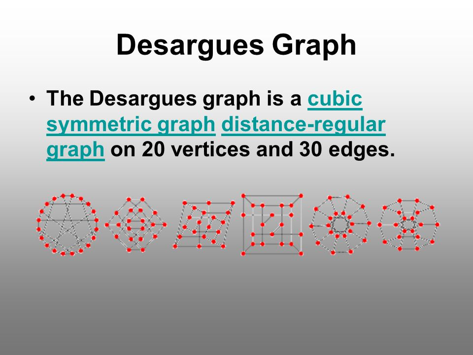 Desargues Graph The Desargues graph is a cubic symmetric graph distance-regular graph on 20 vertices and 30 edges.