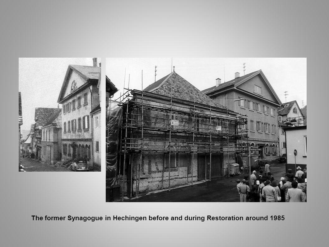 The former Synagogue in Hechingen before and during Restoration around 1985