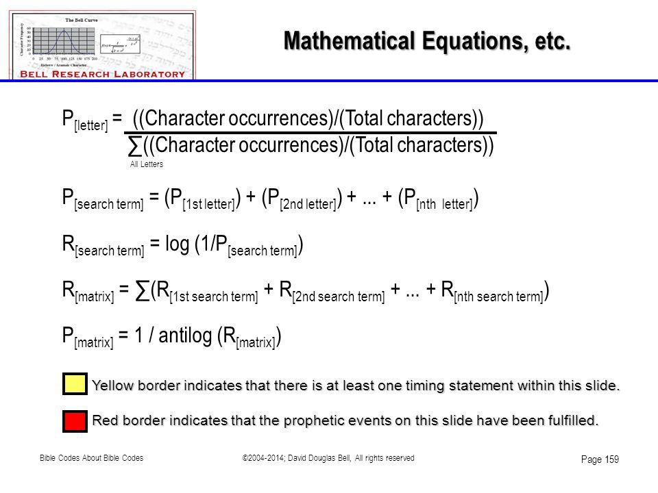 Mathematical Equations, etc.
