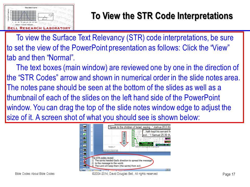 To View the STR Code Interpretations