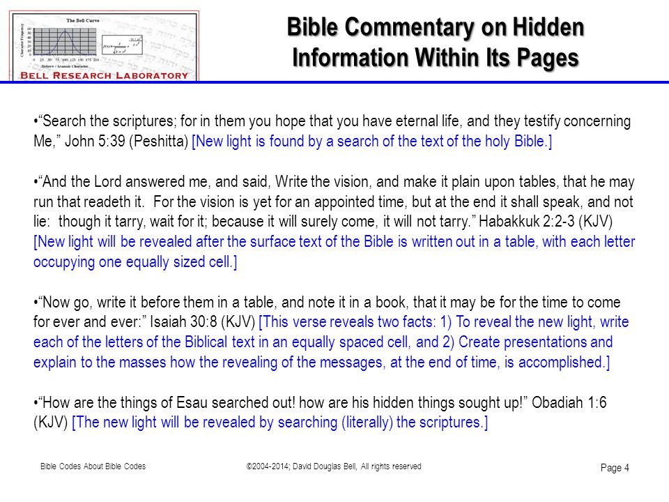 Bible Commentary on Hidden Information Within Its Pages
