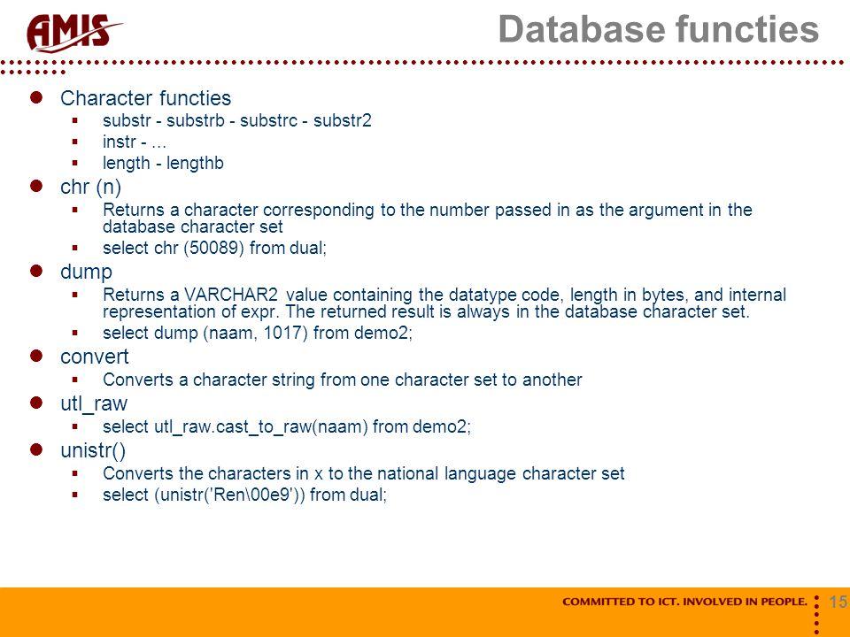 Database functies Character functies chr (n) dump convert utl_raw