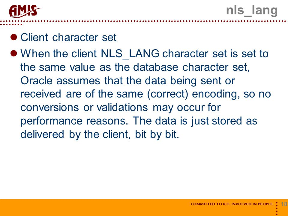 nls_lang Client character set