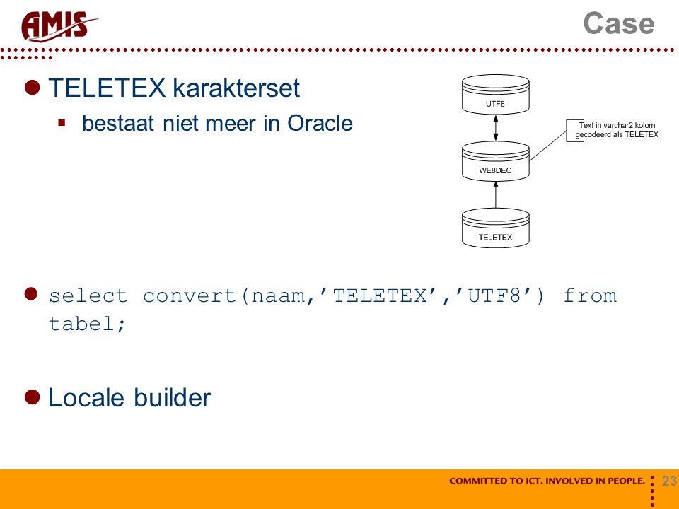 Case TELETEX karakterset Locale builder bestaat niet meer in Oracle