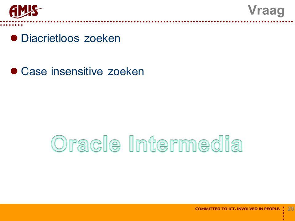 Vraag Diacrietloos zoeken Case insensitive zoeken Oracle Intermedia