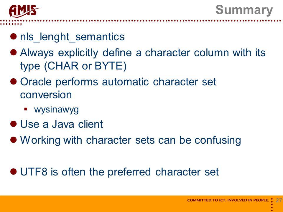 Summary nls_lenght_semantics