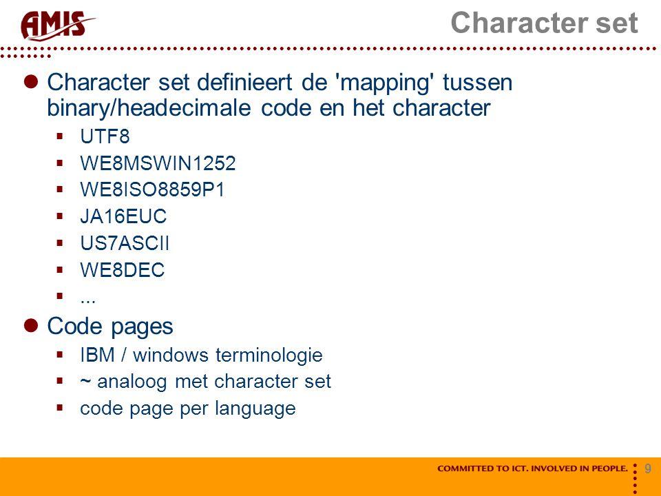 Character set Character set definieert de mapping tussen binary/headecimale code en het character.