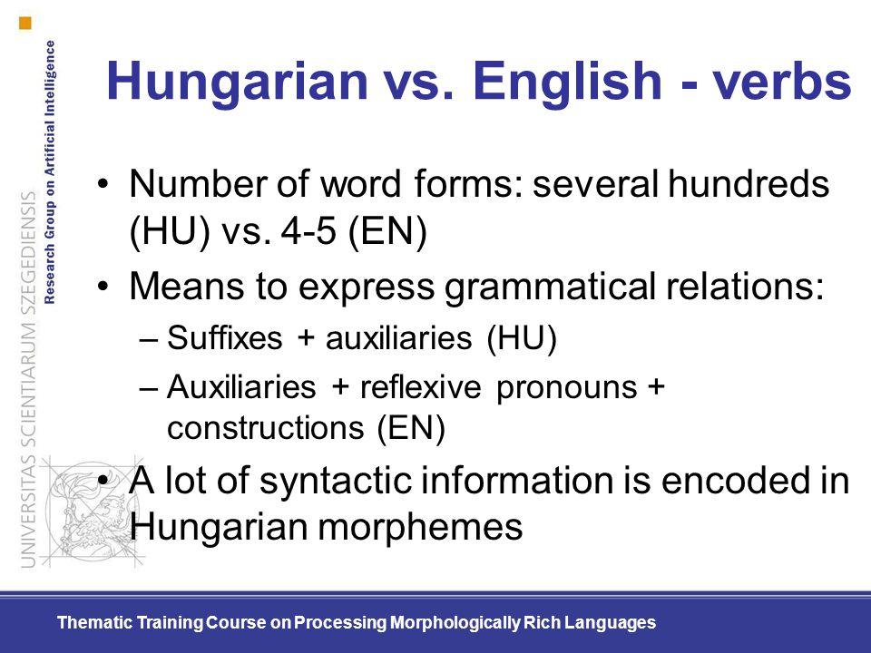 Hungarian vs. English - verbs