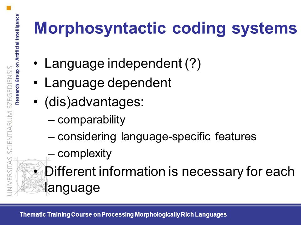 Morphosyntactic coding systems