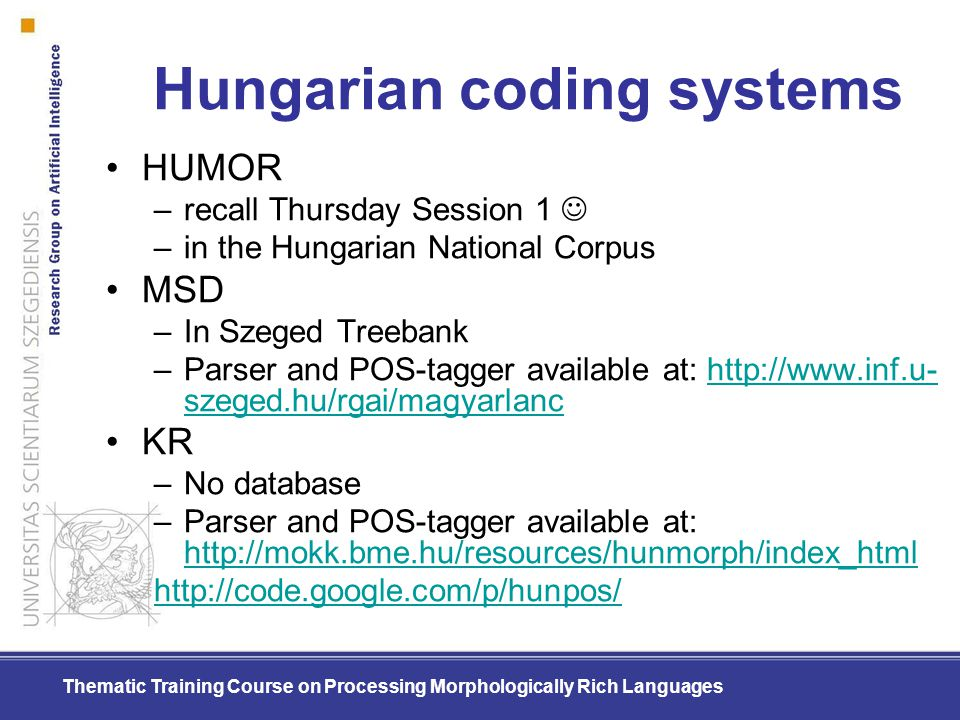 Hungarian coding systems