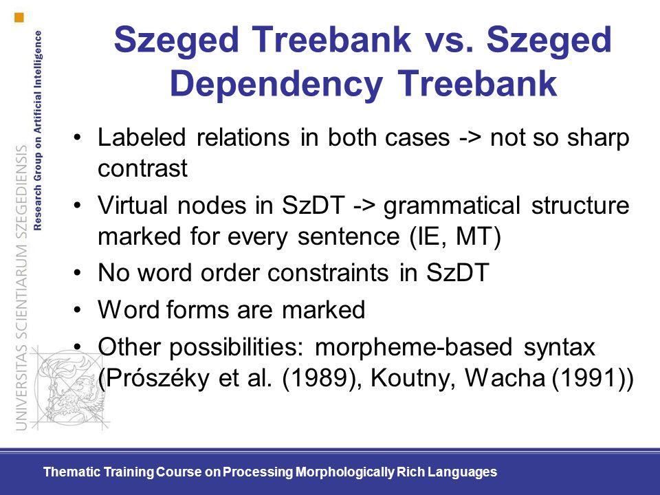 Szeged Treebank vs. Szeged Dependency Treebank