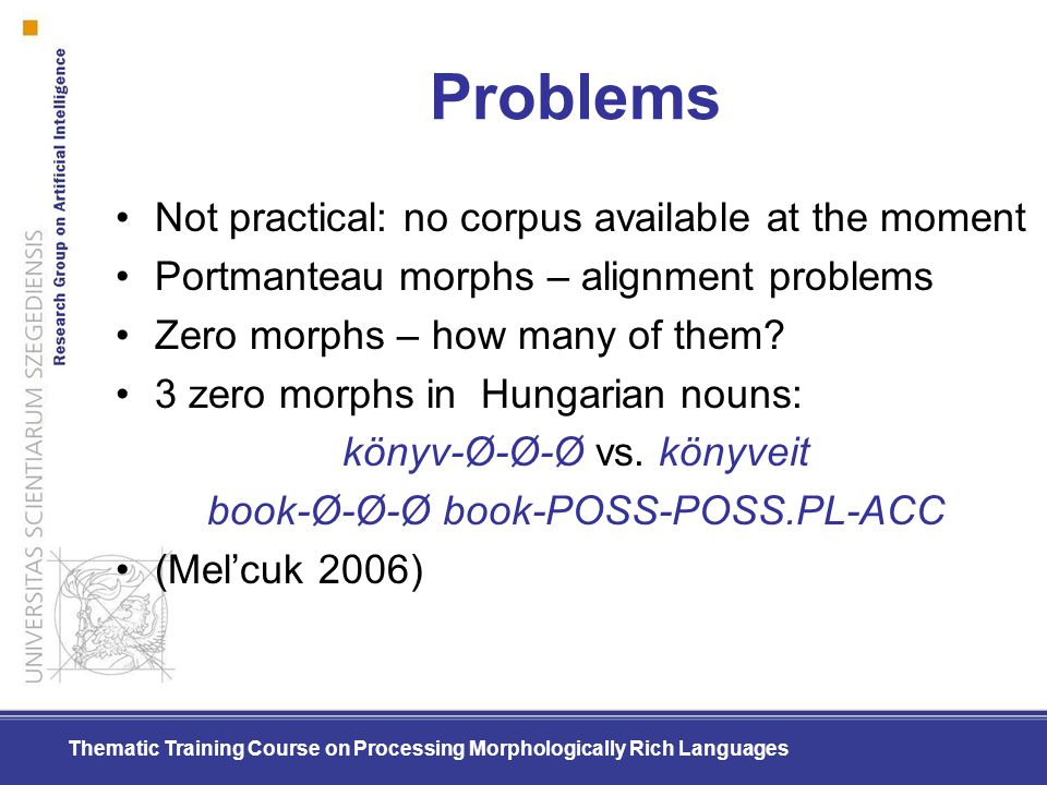 Thematic Training Course on Processing Morphologically Rich Languages