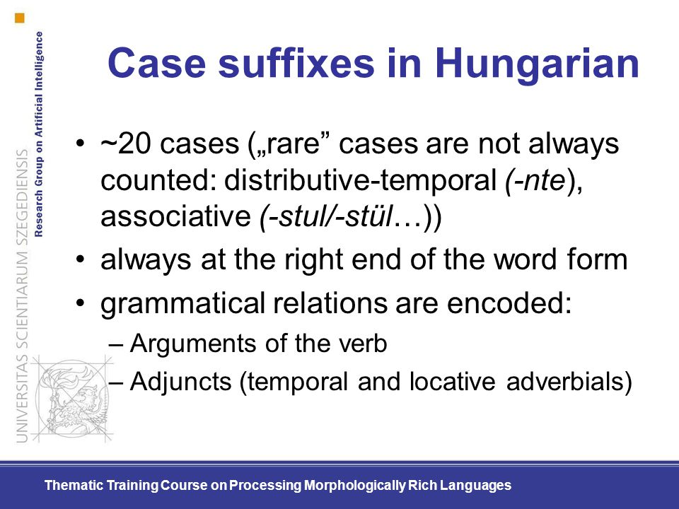 Case suffixes in Hungarian