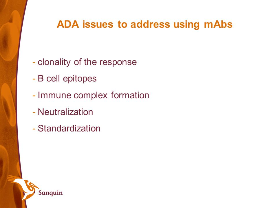 ADA issues to address using mAbs