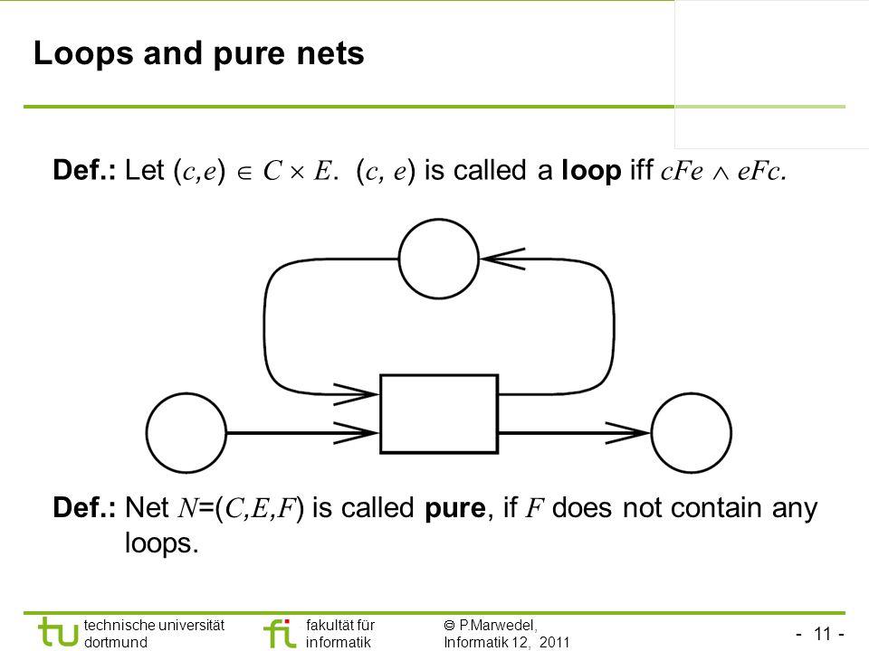 Loops and pure nets Def.: Let (c,e)  C  E. (c, e) is called a loop iff cFe  eFc.