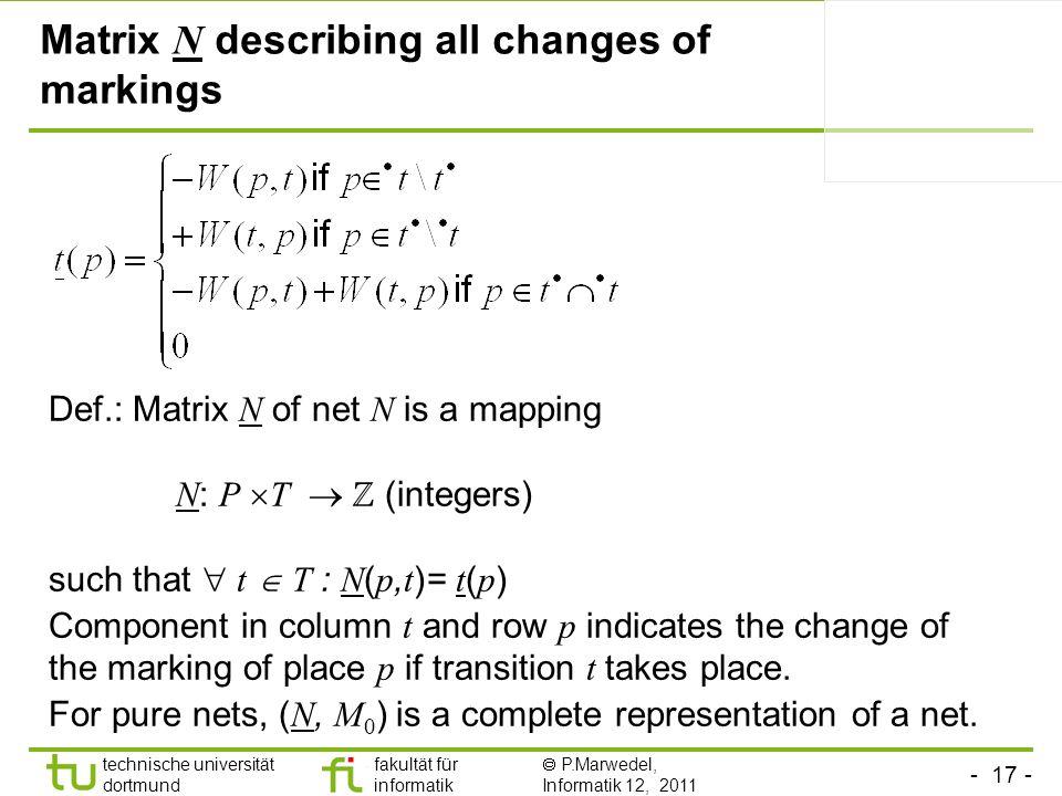 Matrix N describing all changes of markings