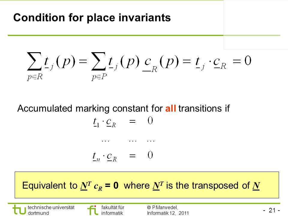 Condition for place invariants