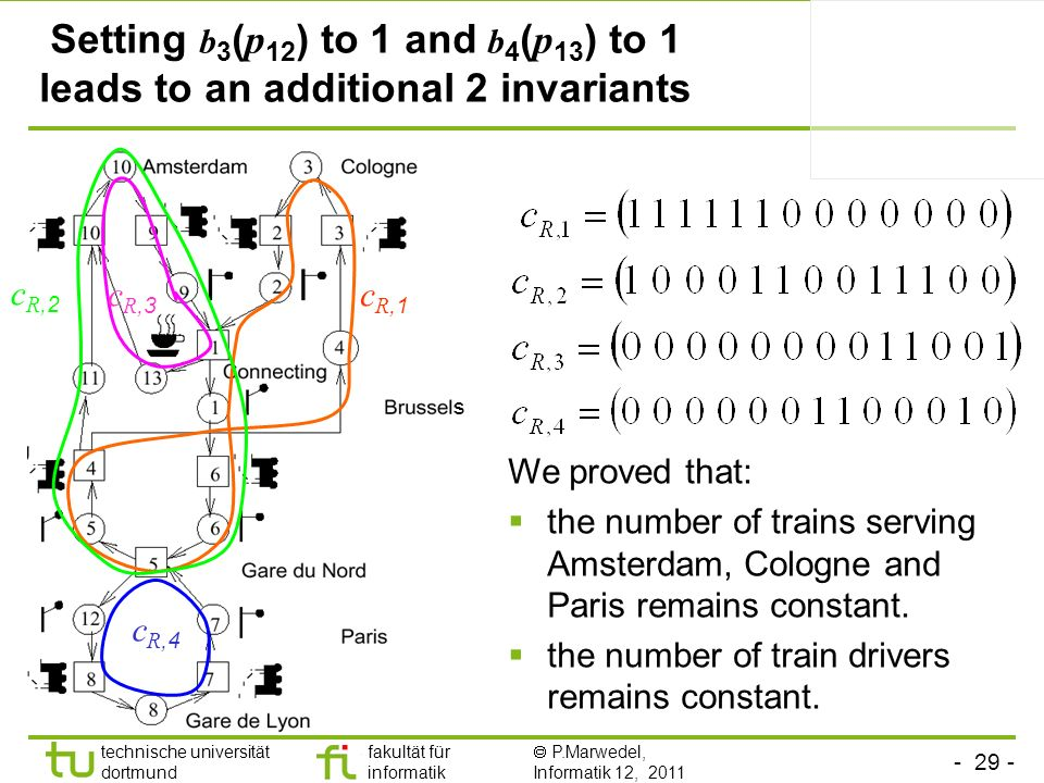 Setting b3(p12) to 1 and b4(p13) to 1 leads to an additional 2 invariants