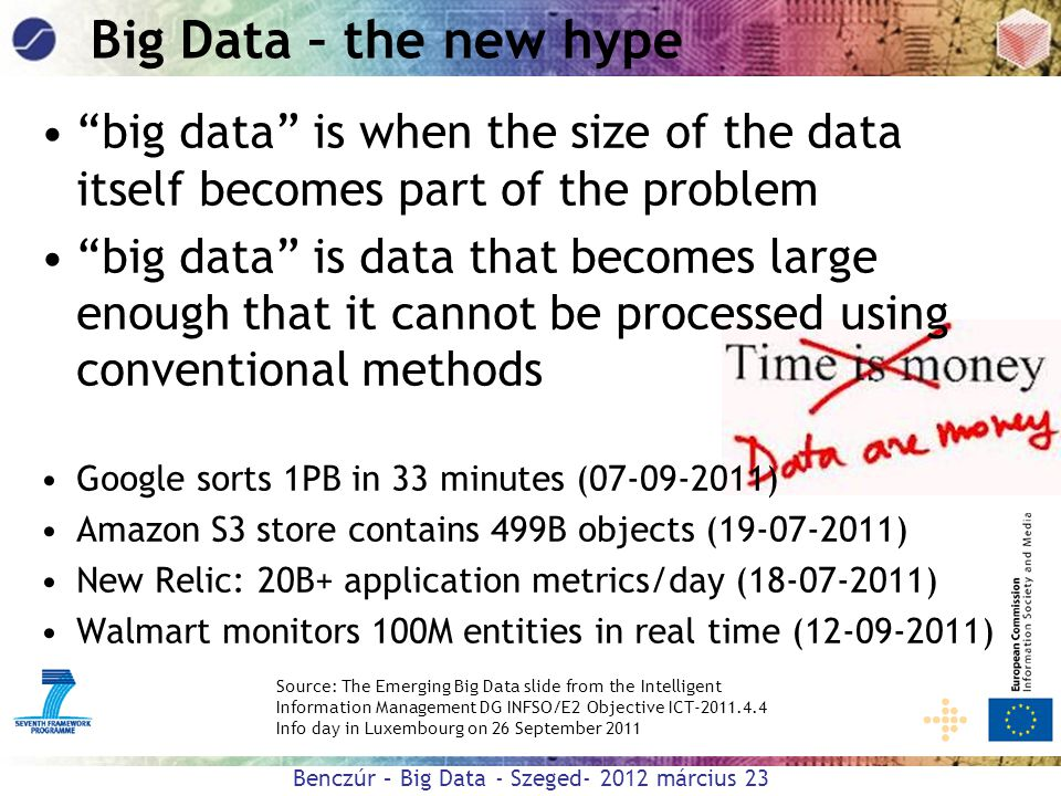 Big Data – the new hype big data is when the size of the data itself becomes part of the problem.