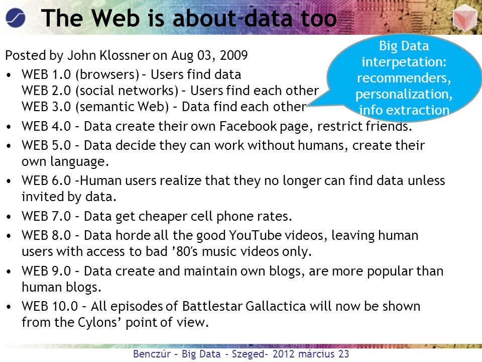 The Web is about data too