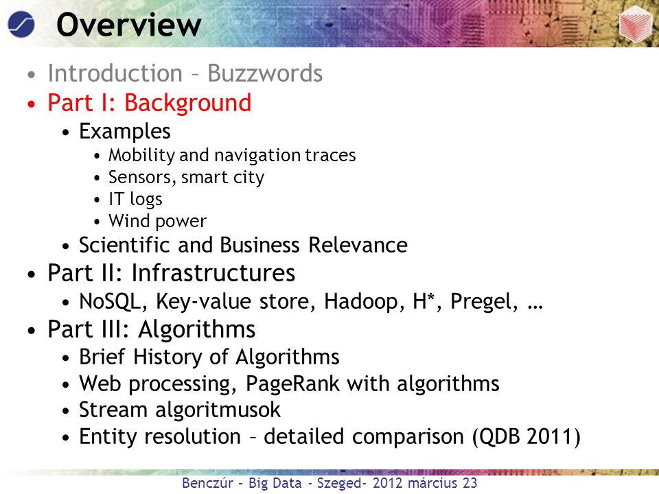 Overview Introduction – Buzzwords Part I: Background