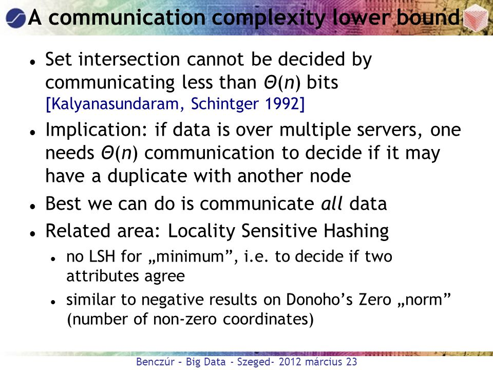 A communication complexity lower bound