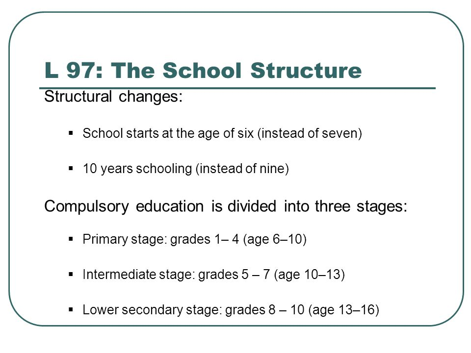 L 97: The School Structure