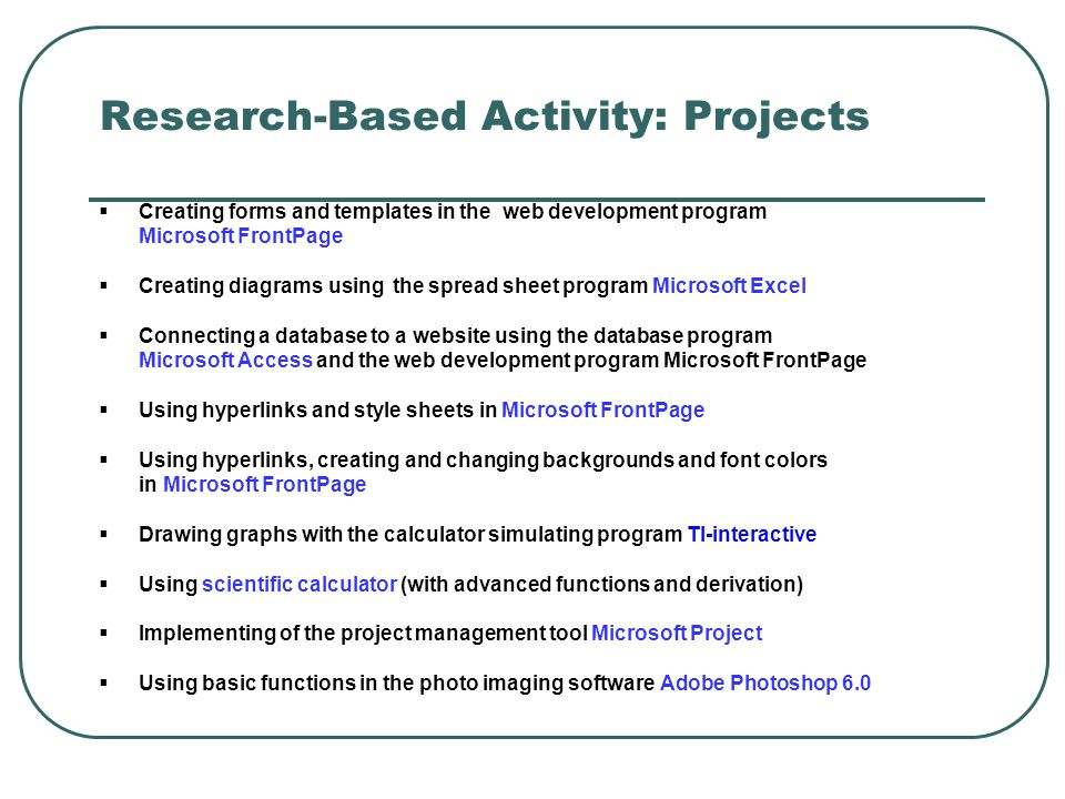 Research-Based Activity: Projects