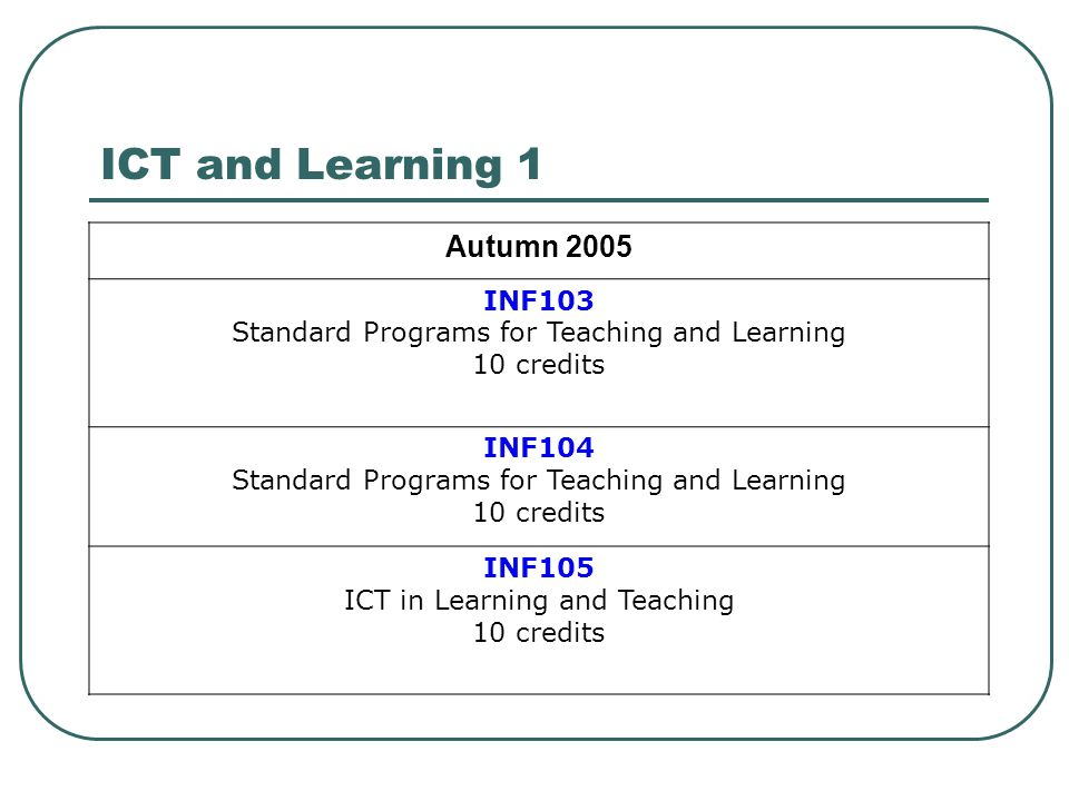 ICT and Learning 1 Autumn 2005 INF103